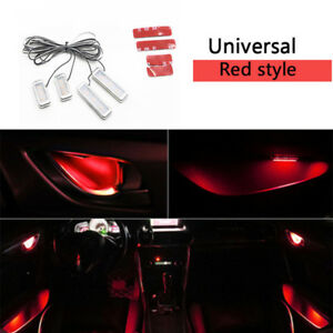 4in1 Red Car Interior Atmosphere Lights Door Bowl Ambient Lamp Decorative