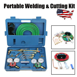 Pro Gas Welding Cutting Welder Kit Oxy Acetylene Oxygen Torch W 15 hose