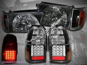 1996 1998 Toyota 4runner Black Style Headlights Corner Led Tail Lights Black