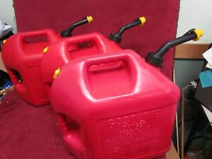 Three Blitz 5 Gallon Gas Cans Vented With Yellow Cap