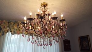 Chandelier Crystal Murano Italy Vintage Three Tier Italian 32 W By 34 Tall