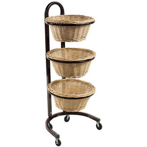 Wicker Basket Rolling Rack Willow Bakery Display 3 tier Retail Store Fixture New