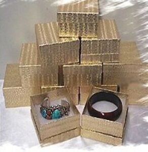 Deep Cotton Filled Jewelry Gift Boxes 100 Lot Case Gold 3 3 4 w X 3 3 4 d X 2