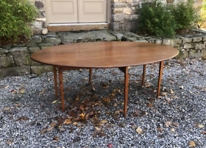 Lg Antique Country Pine Drop Leaf Harvest Swing Leg Dining Kitchen Table Fits 8