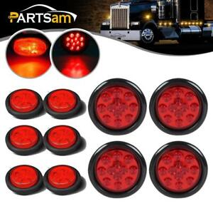 10xred Round Stop Turn Tail Fender Clearance Light 4 12led 2 5 4led Universal