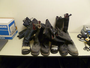 Lot Of 12 Black Leather Firefighter Single Boots Left Right No Matching Pairs