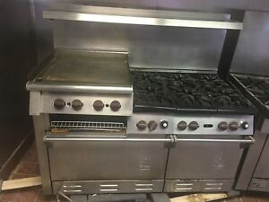 Wolf 60 Stainless Commercial Range With Burner 24 Raised Griddle broiler