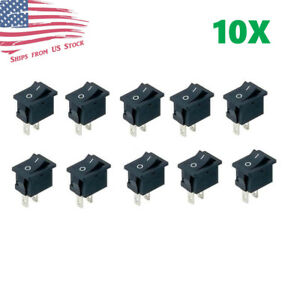 10pcs Mini Rocker Switch 2 Pin On off Spst 125vac 6a 250vac 3a Black 117s Us