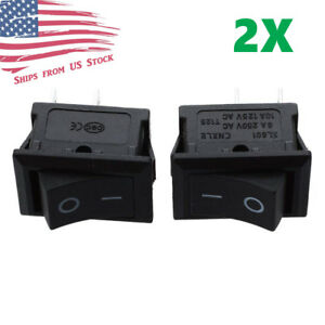 2pcs Mini Rocker Switch 2 Pin On off Spst 125vac 6a 250vac 3a Black 117s Us