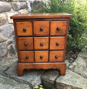 Old Antique Pine 9 Drawer Country Kitchen Spice Storage Apothecary Cabinet C1900