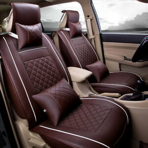 Car Seat Cover Pu Leather 5 Seats Front rear Mat Universal All Season Coffee L