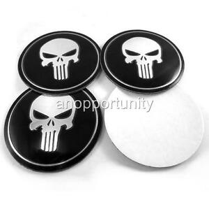 4x 65mm Wheel Center Hub Caps Punisher Skull Metal Emblem Badge Decal Sticker
