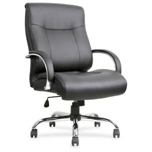 Lorell Leather Deluxe Big tall Chair Bonded Leather Black Seat Bonded