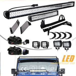 52 22 4 Led Light Bar mount Brackets Kit For Jeep Wrangler Jk Jku Rubicon