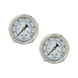 2 Pack Liquid Filled Pressure Gauge 0 1500 Psi 2 5 Face 1 4 Back Mount Wog