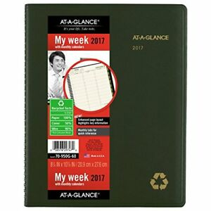 At a glance Weekly Monthly Appointment Book Planner 2017 Recycled 8 1 4 X