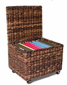 Birdrock Home Seagrass Rolling File Cabinet Storage Home Office Decor