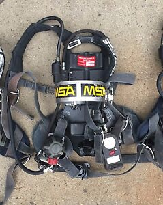 Lot Of 5 Msa Firefighter Fire Fireman Scba Air Pack W Stealth Cylinder And Mask