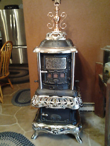 River Aer Duct Rock Island Stove Co Cast Iron Wood Burning Parlor Stove