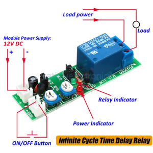 Dc 12v Infinite Cycle Delay Timing Timer Relay On Off Switch Loop Module