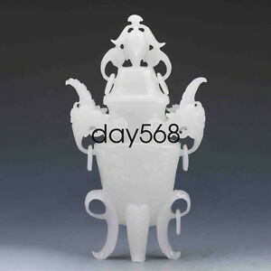 Chinese Old White Jade Hand Carved Incense Burner Lid Ljq793