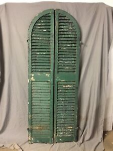 Antique Pair Arched Dome Top Wood Louvered Window Shutters 14x74 Old Vtg 425 18c