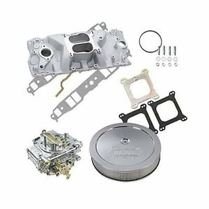 Sbc 327 350 Chevy Edelbrock 2101 Intake Holley 600 Cfm Air Cleaner Combo