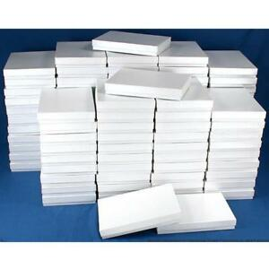 100 White Swirl Cotton Boxes Necklace Jewelry Gift Box Displays 7 1 8