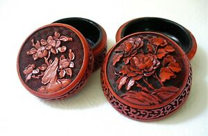 2 Vint Round Hand Carved Red Black Cinnabar Chinese Lacquer Floral Trinket Box