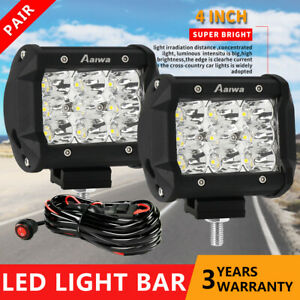 2x 4inch 30w Cree Led Work Light Bar Driving Spot Offroad Suv Atv W Wiring Kit