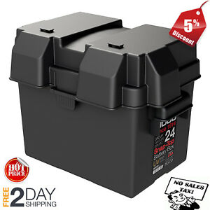 Snap Top Battery Box Automotive Marine Rv Batteries Storage Group 24 Black New