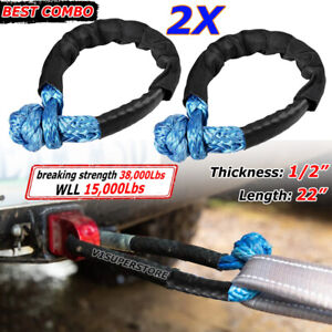 Blue 1 2 Inch Soft Shackle Rope Synthetic Towing Recovery Strap 38 000lbs 2pcs