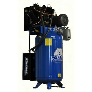 10hp V4 Single Phase 120 Gallon Vertical Air Compressor W Silencer