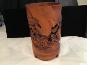 Antique Hand Carved Chinese Bamboo Brush Pot Must See Increadable No Reserve