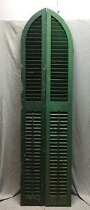 Antique Pair Arched Gothic Top Wood Window Louvered Shutters 10x80 Vtg 434 18c