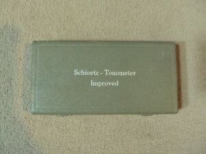 Schioetz Tonometer Improved W Original Certificates Of Accuracy 1965 Autoclave