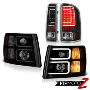 07 13 Chevy Silverado Sinister Black Headlamps Infinity Rear Brake Lamps Newest