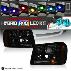 Rgb Led Low Beam 02 09 Chevy Trailblazer Darkest Smoke Left Right Headlights