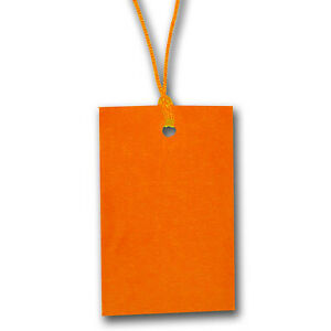 Orange Stringed Card Clothing Tags 70mm X 45mm pack Of 500