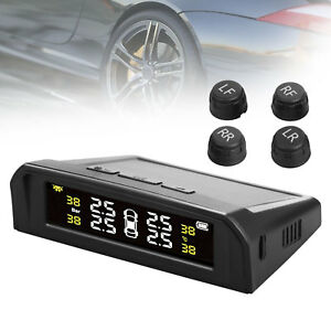 Solar Power Car Tire Pressure Tpms Gauge Monitor System With 4 External Sensors