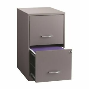 Hirsh 18 Deep 2 Drawer Metal File Cabinet In Platinum Gray