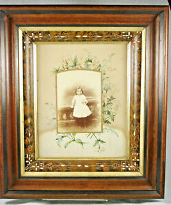 Victorian 1870s Eastlake Deep Walnut Picture Frame Child Photo
