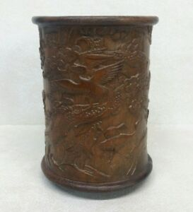 Old Chinese Hand Carved Bamboo Brush Pot W Inscriptions Cranes