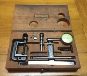 Starrett Dial Indicator Set 196 Wood Case Precision Tool Vintage Clamp Parts