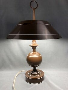 Rare Vintage Mid Century Metal Toleware Tole Two Bulb Table Reading Lamp