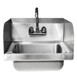 17 X 15 X 14 Kitchen Stainless Steel Wall Mount Hand Sink W 6 Faucet New