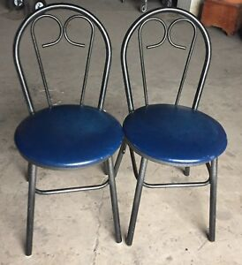 20 Black Metal Blue Chairs Restaurant Cafe Diner