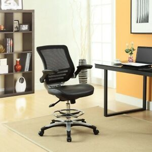 Office Desk Chair Drafting Reception Black Vinyl Tall Computer Chairs Adjustable