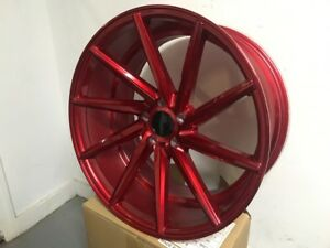 20 Staggered Red Swirl Style Rims Wheels Fits Altima Maxima 350z 370z G35 G37
