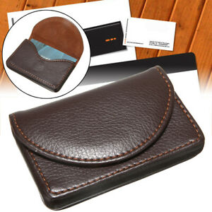 Pocket Leather Name Business Card Id Card Credit Card Holder Case Wallet Brown